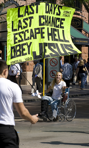Obey jesus avoid hell sign